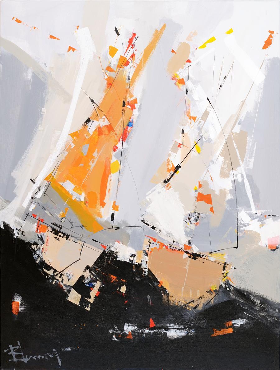 Tableau de l'artiste peintre René Lemay représentant des voiliers