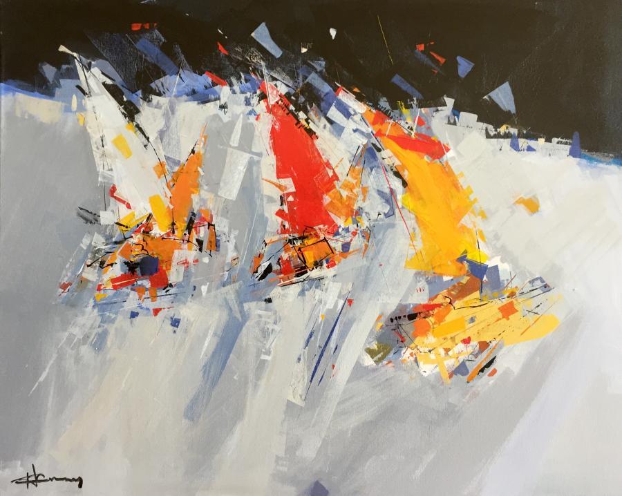 René Lemay artiste peintre - Chariots de glace - Acrylique