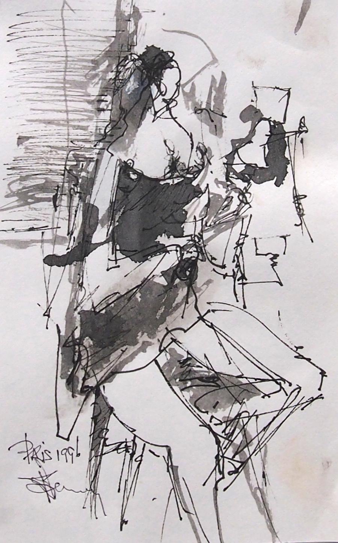 Croquis de l'artiste peintre représentant une femme nue