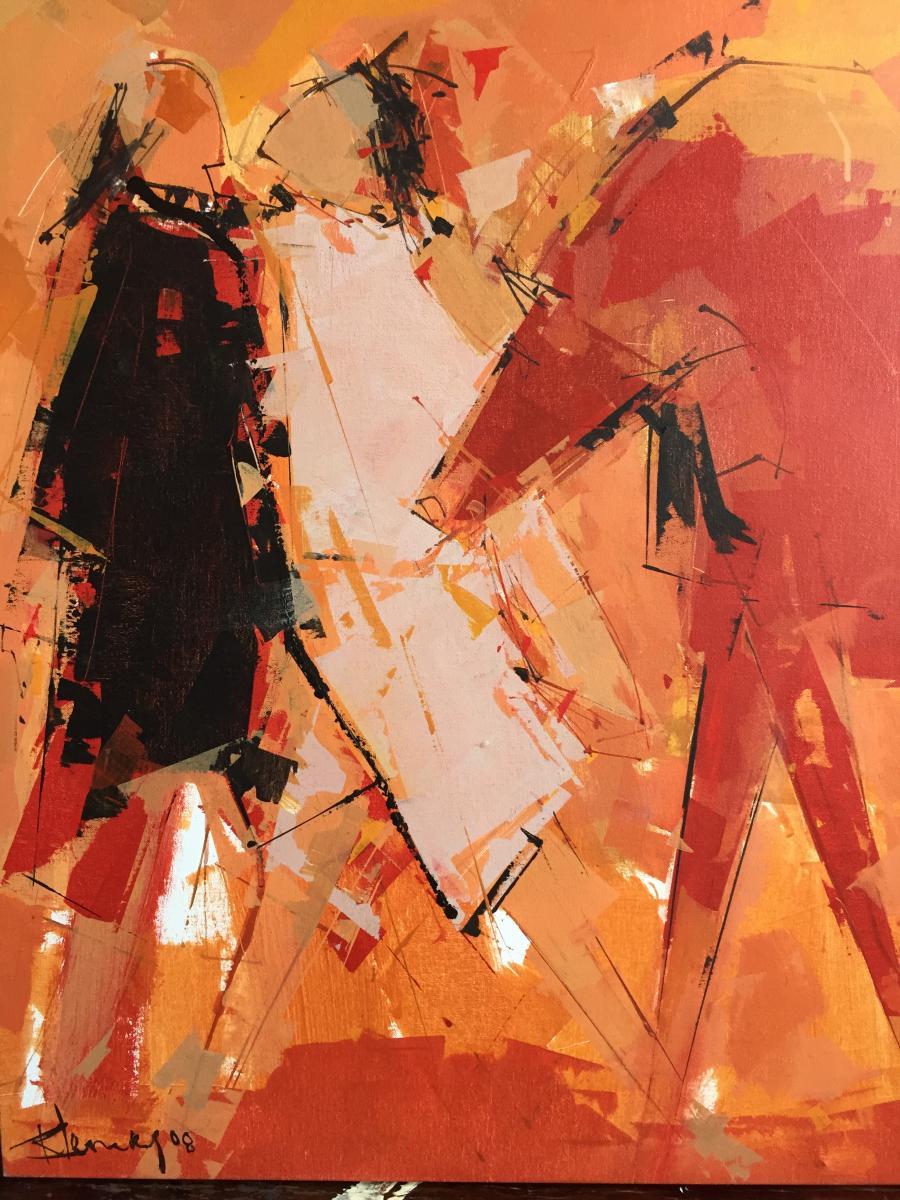 Tableau de l'artiste peintre René Lemay représentant deux personnages et un cheval