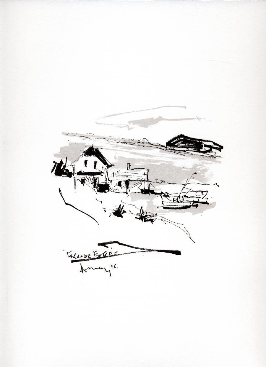 Sérigraphie de l'artiste peintre René Lemay représentant une maison à la Grande Entrée