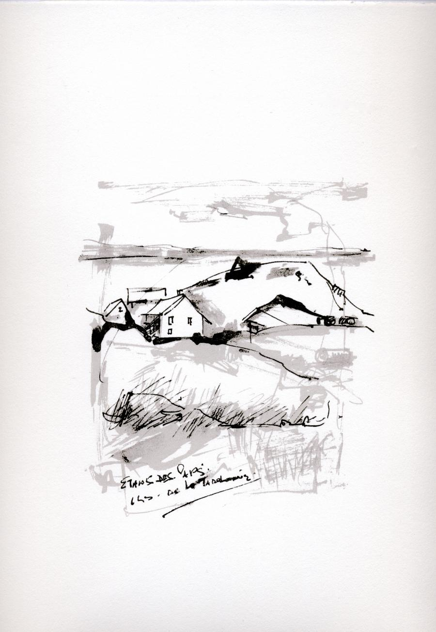Sérigraphie de l'artiste peintre René Lemay représentant l'Étang-des-Caps aux îles-de-la-Madeleine