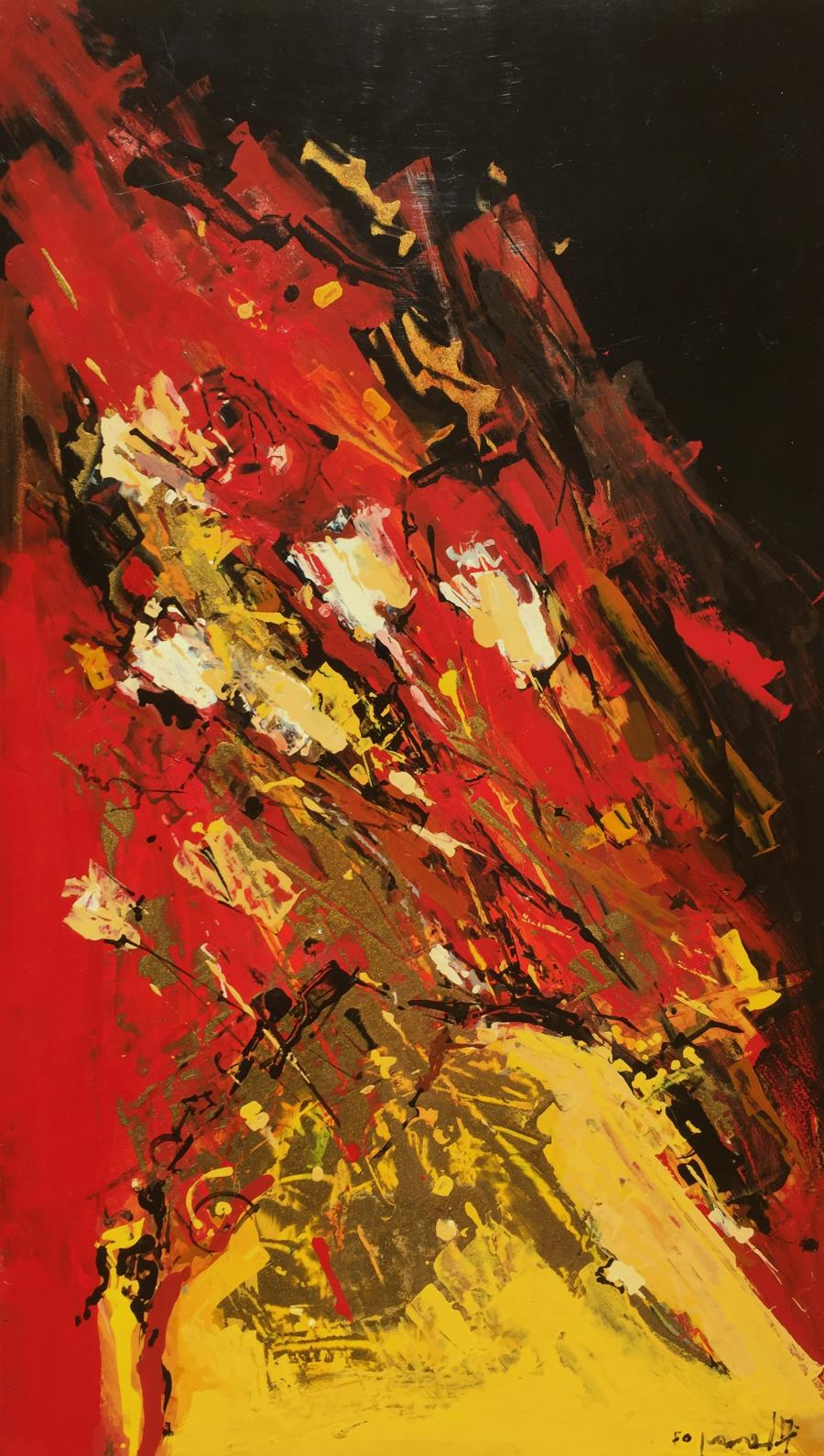 Laque de l'artiste peintre René Lemay représentant un bouquet de fleurs.