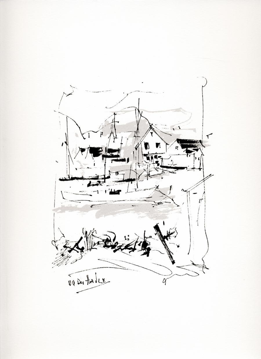 Sérigraphie de l'artiste peintre René Lemay représentant la Grave aux îles-de-la-Madeleine.