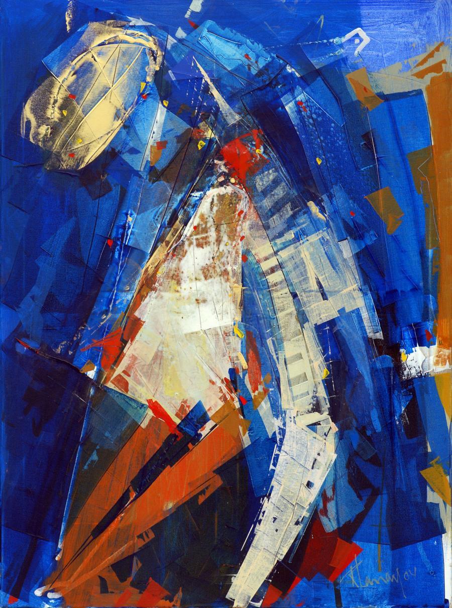 Poupée musicale, oeuvre abstraire de l'artiste peintre René Lemay
