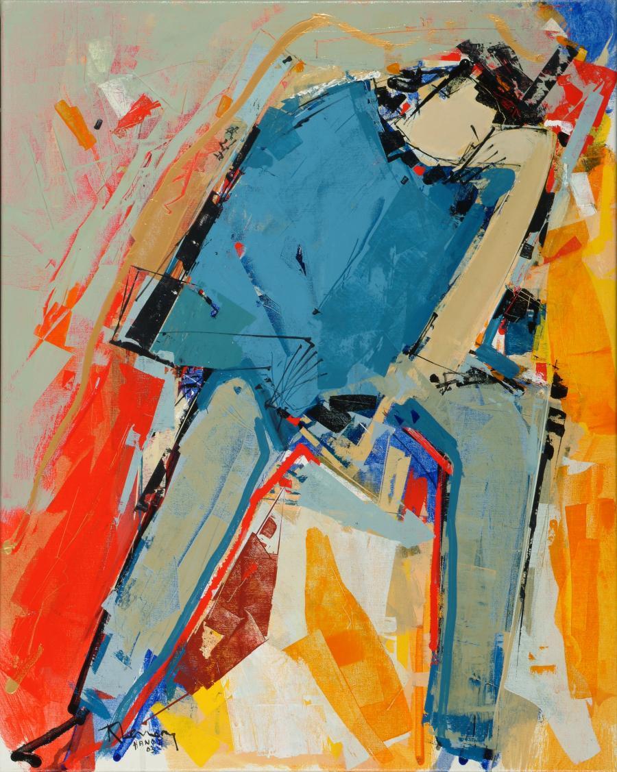 Tableau de l'artiste peintre René Lemay représentant un personnage faisant référence au penser de rodin.