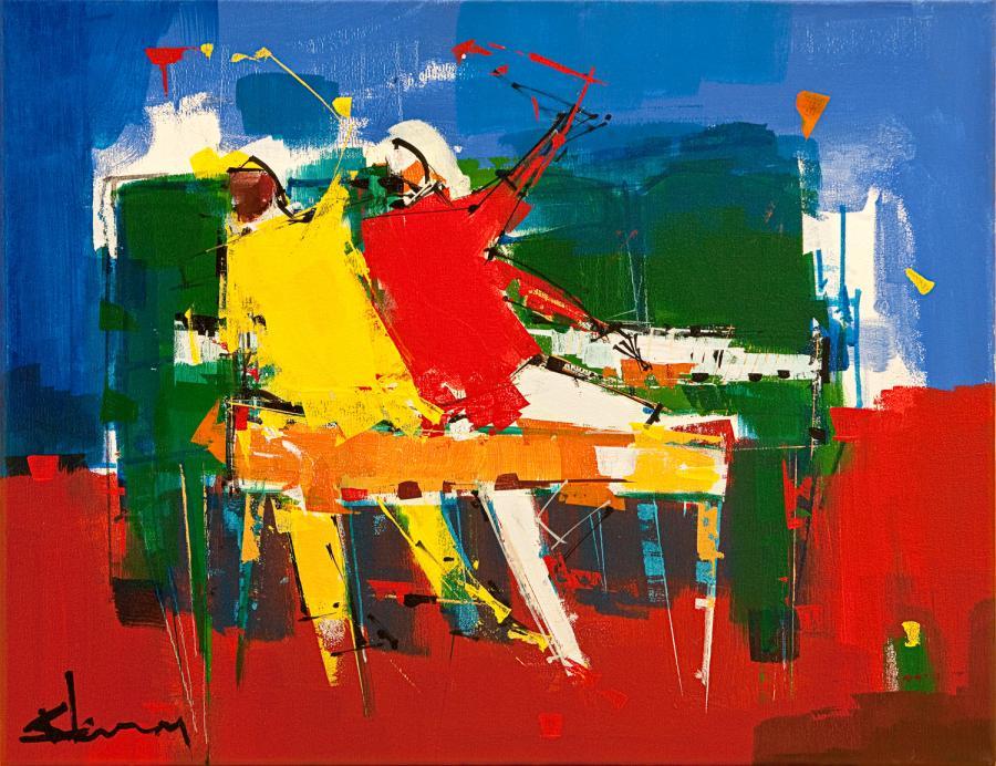 Tableau acrylique de l'artiste peintre René Lemay représentant des pianistes