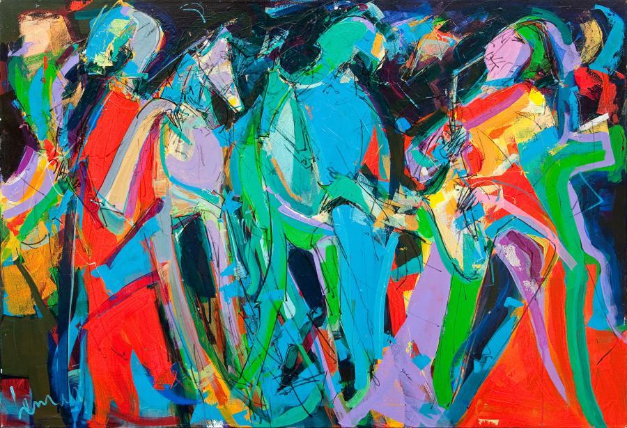 Tableau de l'artiste peintre René Lemay représentant des danseurs