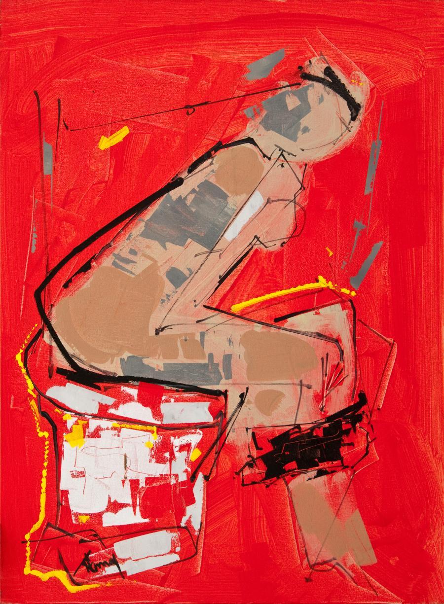 Tableau de l'artiste peintre René Lemay représentant une femme aux toilettes