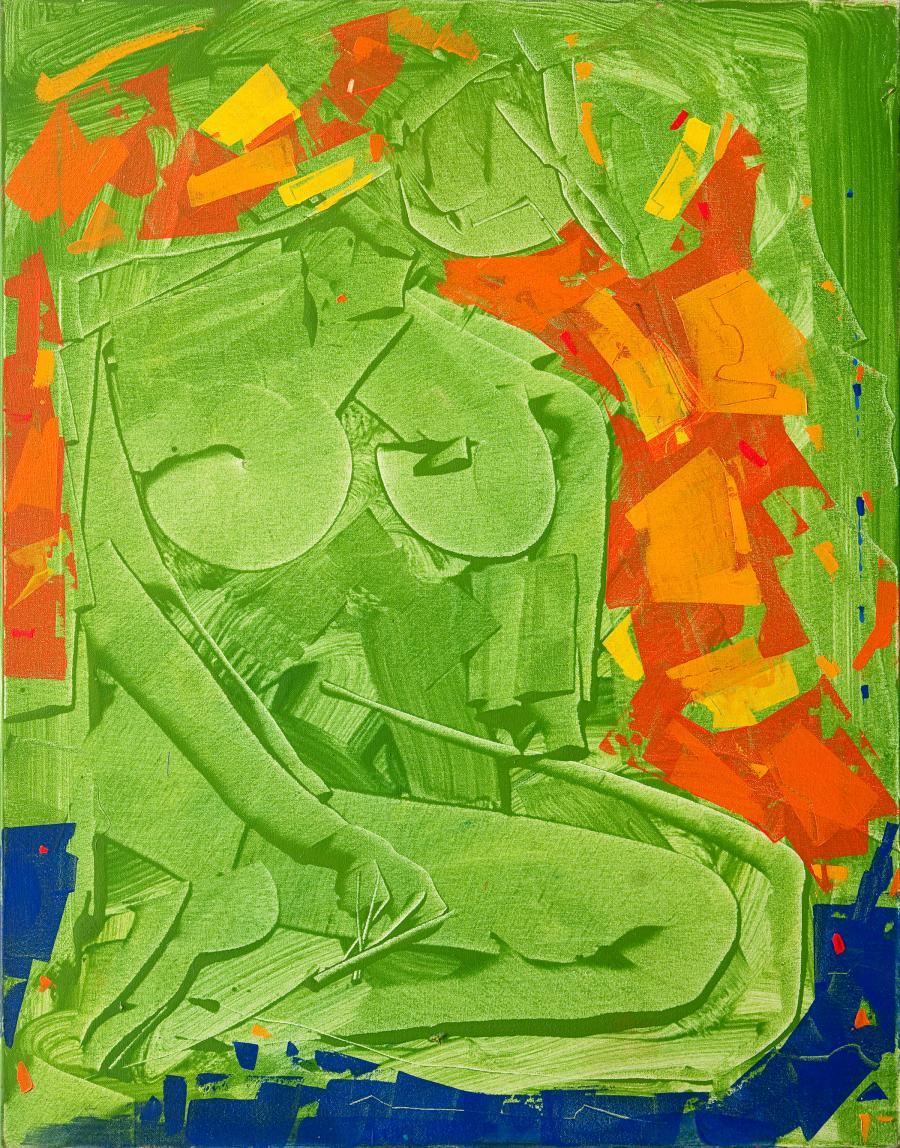 Oeuvre de l'artiste peintre René Lemay représentant une femme nue.