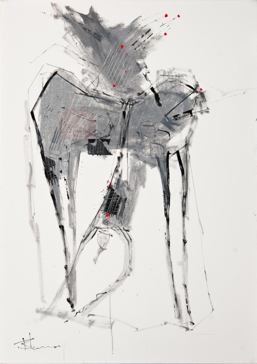 Tableau de l'artiste peintre René Lemay représentant un cavalier