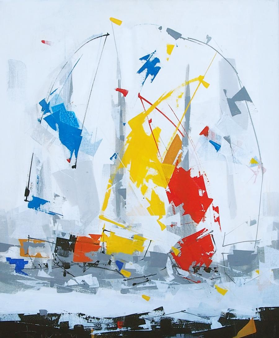 Tableau de l'artiste peintre René Lemay représentant trois voiliers