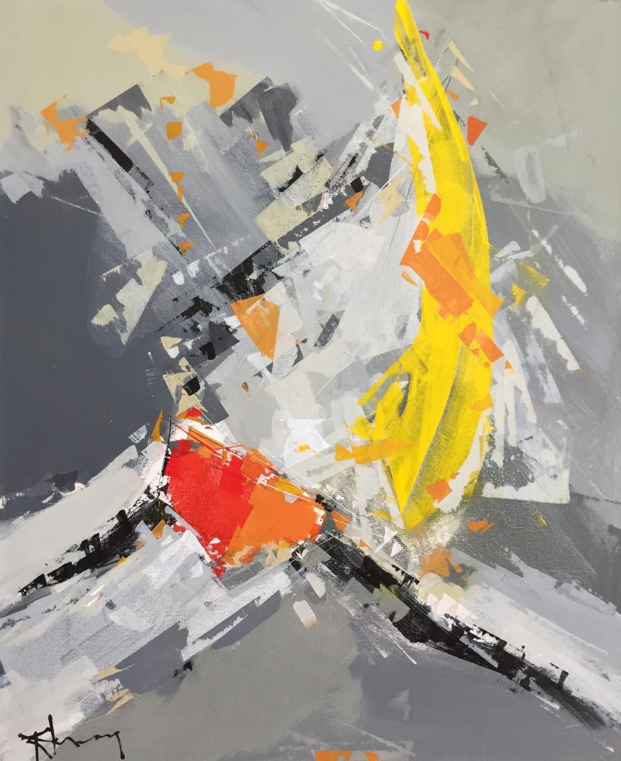 """Tableau de René Lemay """"Libre comme le vent"""" représentant un voilier et réalisé en 2011"""