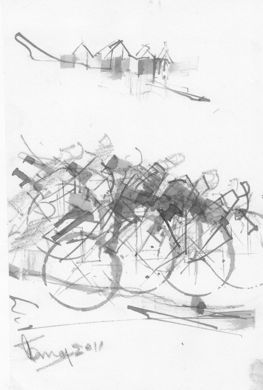 Croquis de l'artiste peintre représentant des cyclistes