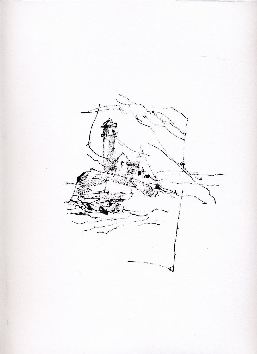 Sérigraphie de l'artiste peintre René Lemay représentant un phare et produit en 2016