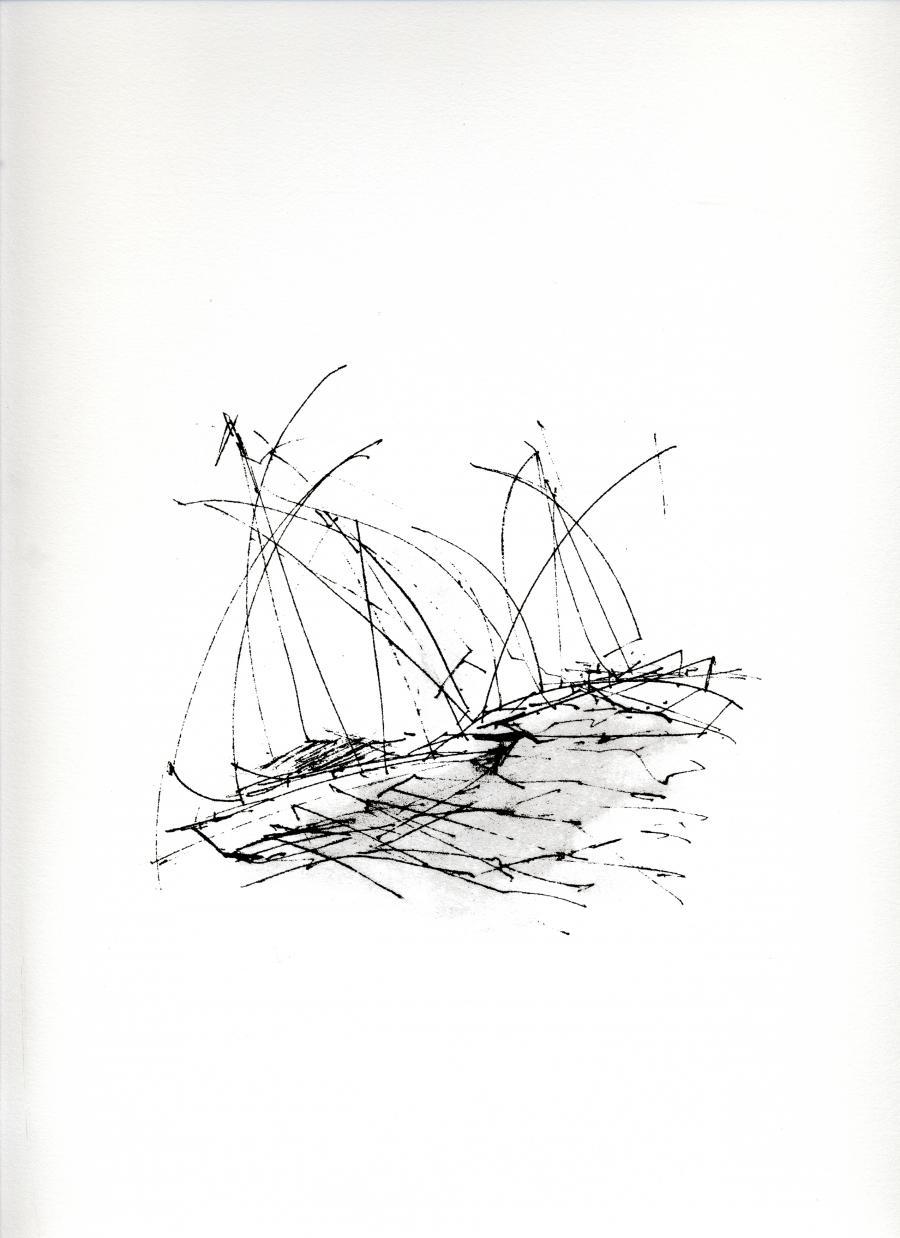 """Sérigraphie """"Régate"""" produit par l'artiste peintre René Lemay et représentant un voilier"""
