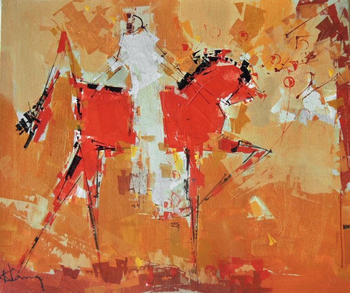 Tableau de l'artiste peintre René Lemay représentant un cavalier et des pommes