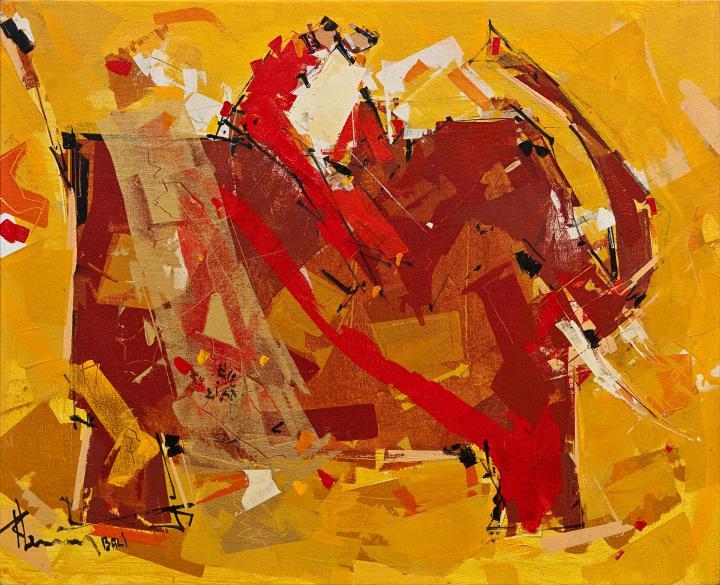 Tableau de l'artiste peintre René Lemay représentant un éléphant et des cavaliers