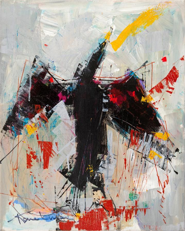 Tableau de l'artiste peintre René Lemay représentant l'oiseau cormoran
