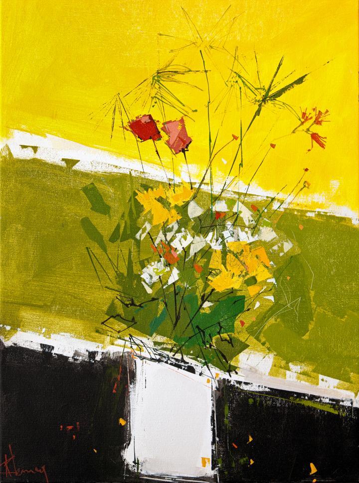 Tableau de l'artiste peintre René Lemay représentant un bouquet de fleurs