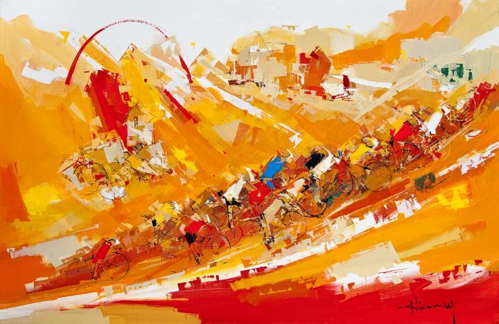 Tableau de l'artiste peintre René Lemay représentant des cyclistes