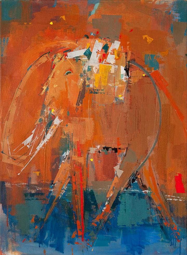 Tableau de l'artiste peintre René Lemay représentant un éléphant
