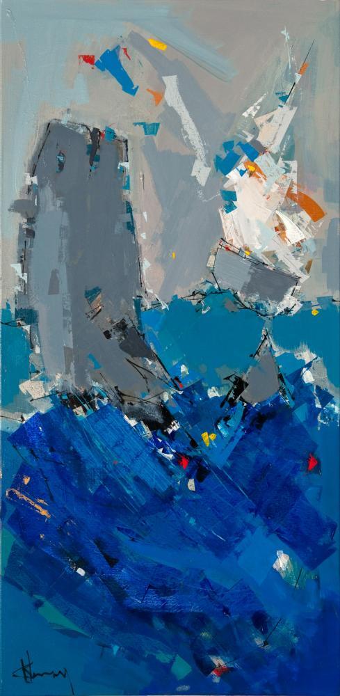 Oeuvre de l'artiste peintre René Lemay représentant une baleine et un voilier