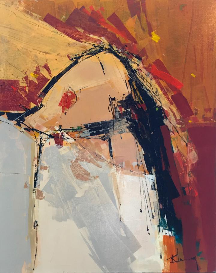 Tableau de l'artiste peintre René Lemay représentant une femme asiatique.