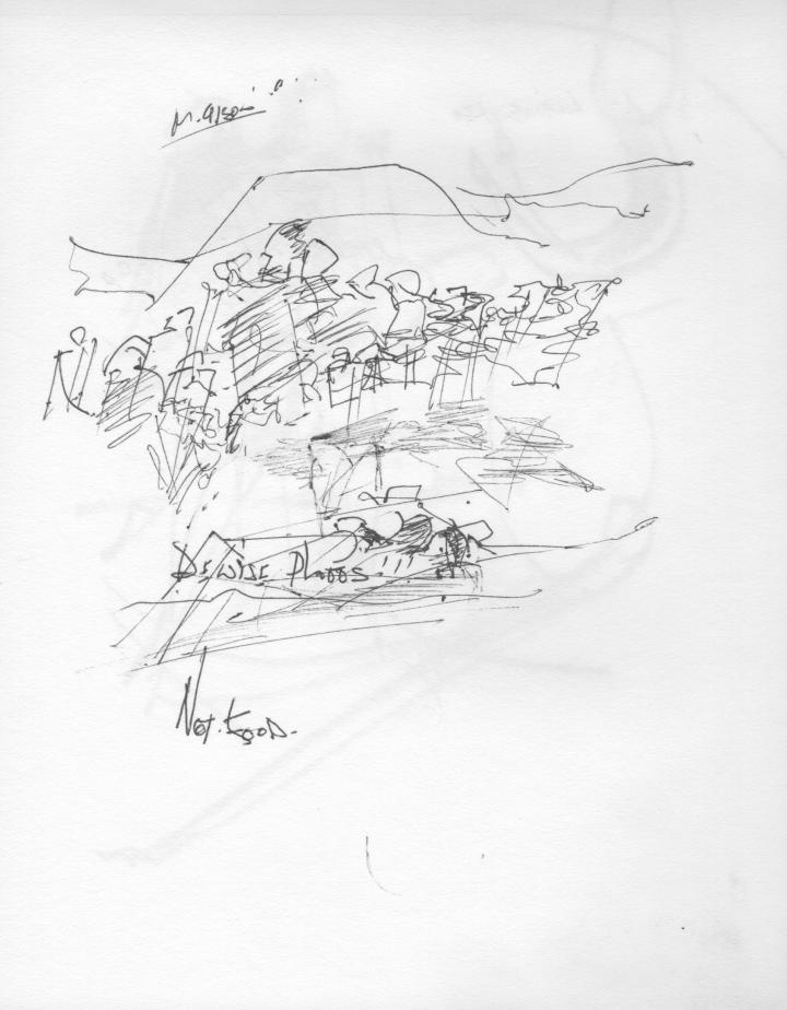 Croquis de l'artiste peintre René Lemay représentant un attroupement de personnes.