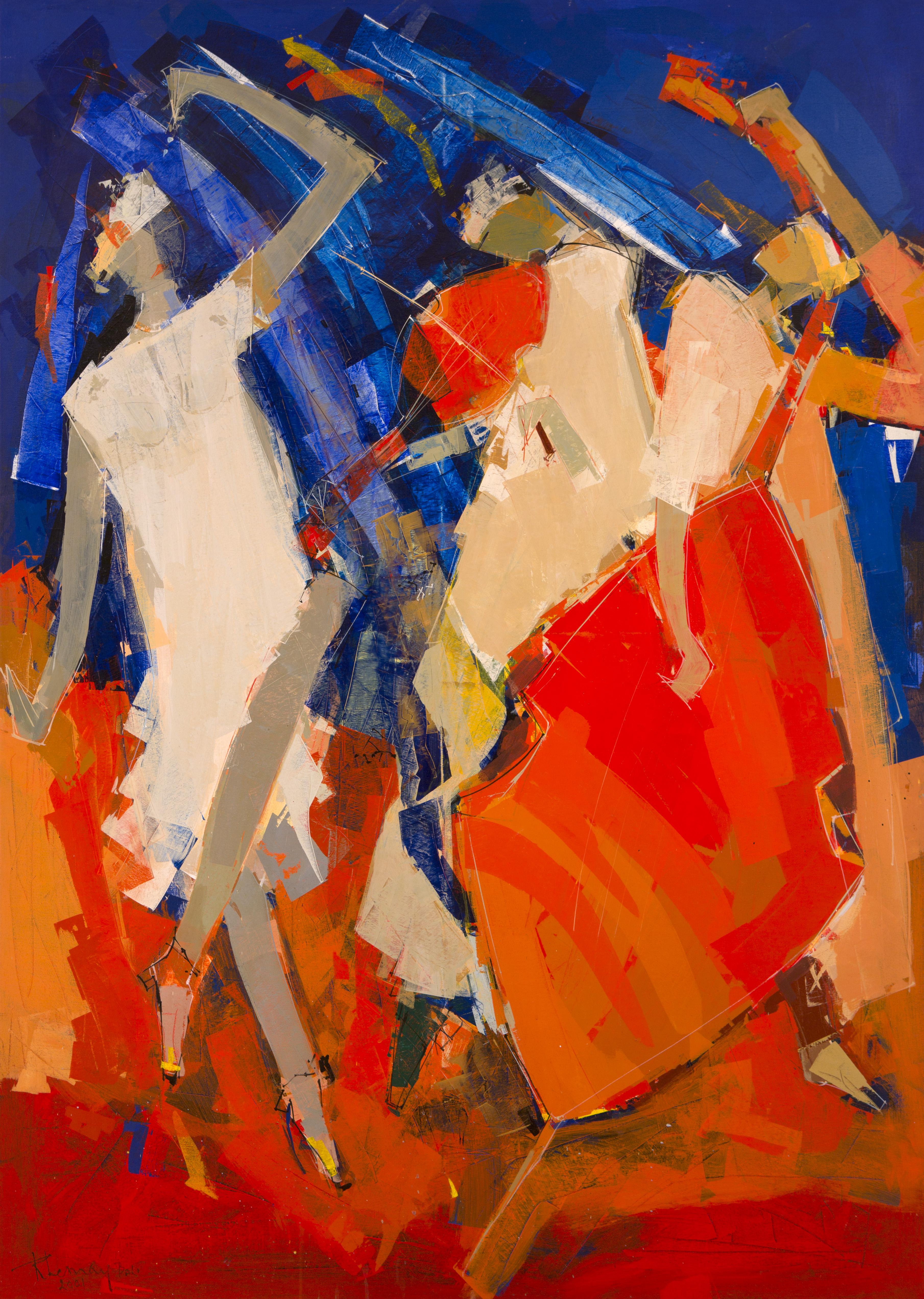 Tableau de l'artiste peintre René Lemay représentant des musiciens