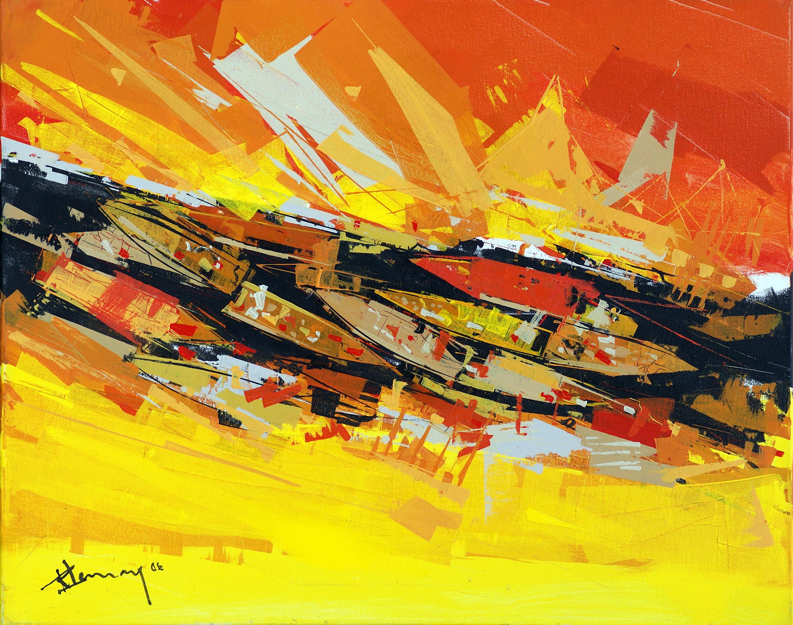 Tableau de l'artiste peintre René Lemay représentant un marché flottant en Thaïlande