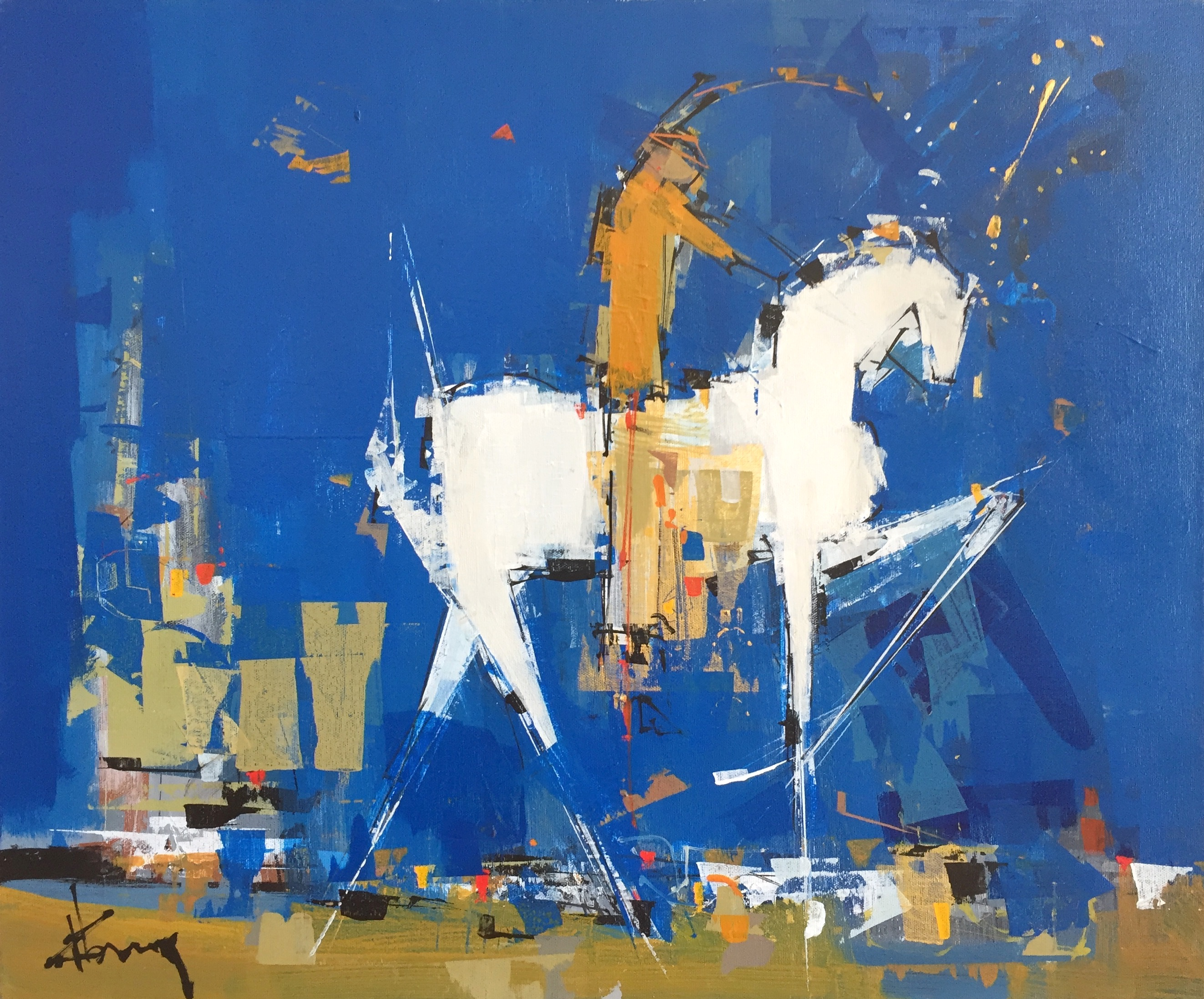 René Lemay artiste peintre - Chevauchée astrale - Acrylique