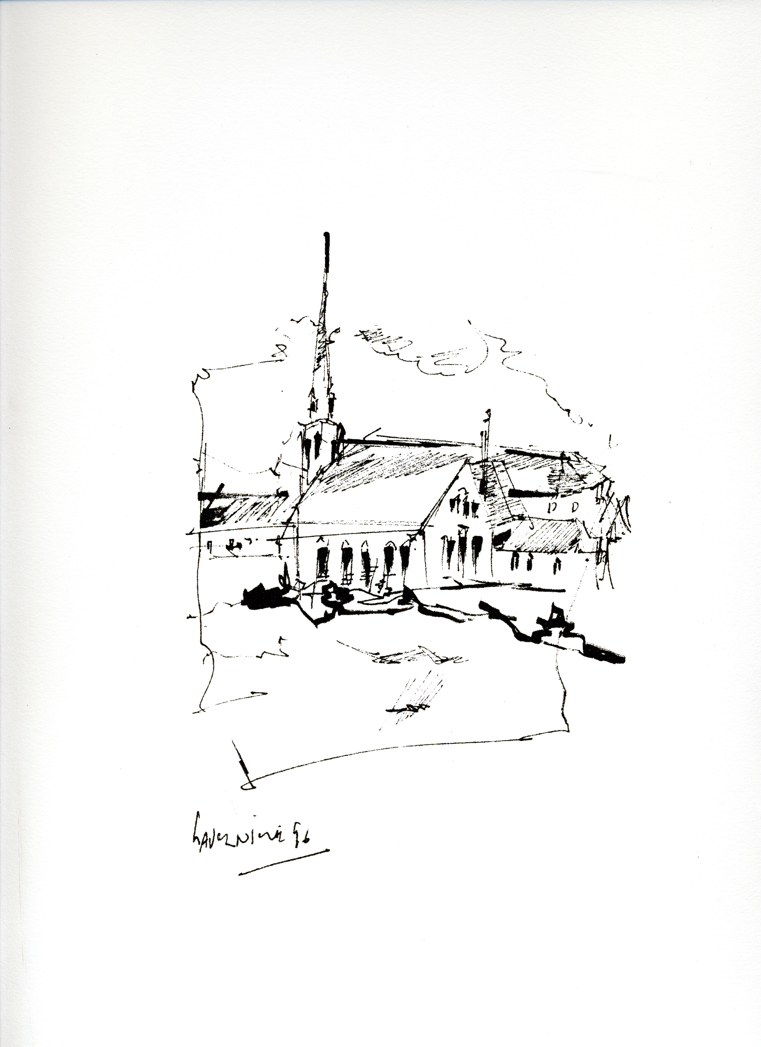 Sérigraphie de l'artiste peintre René Lemay représentant l'église de Lavernière aux îles-de-la-Madeleine.