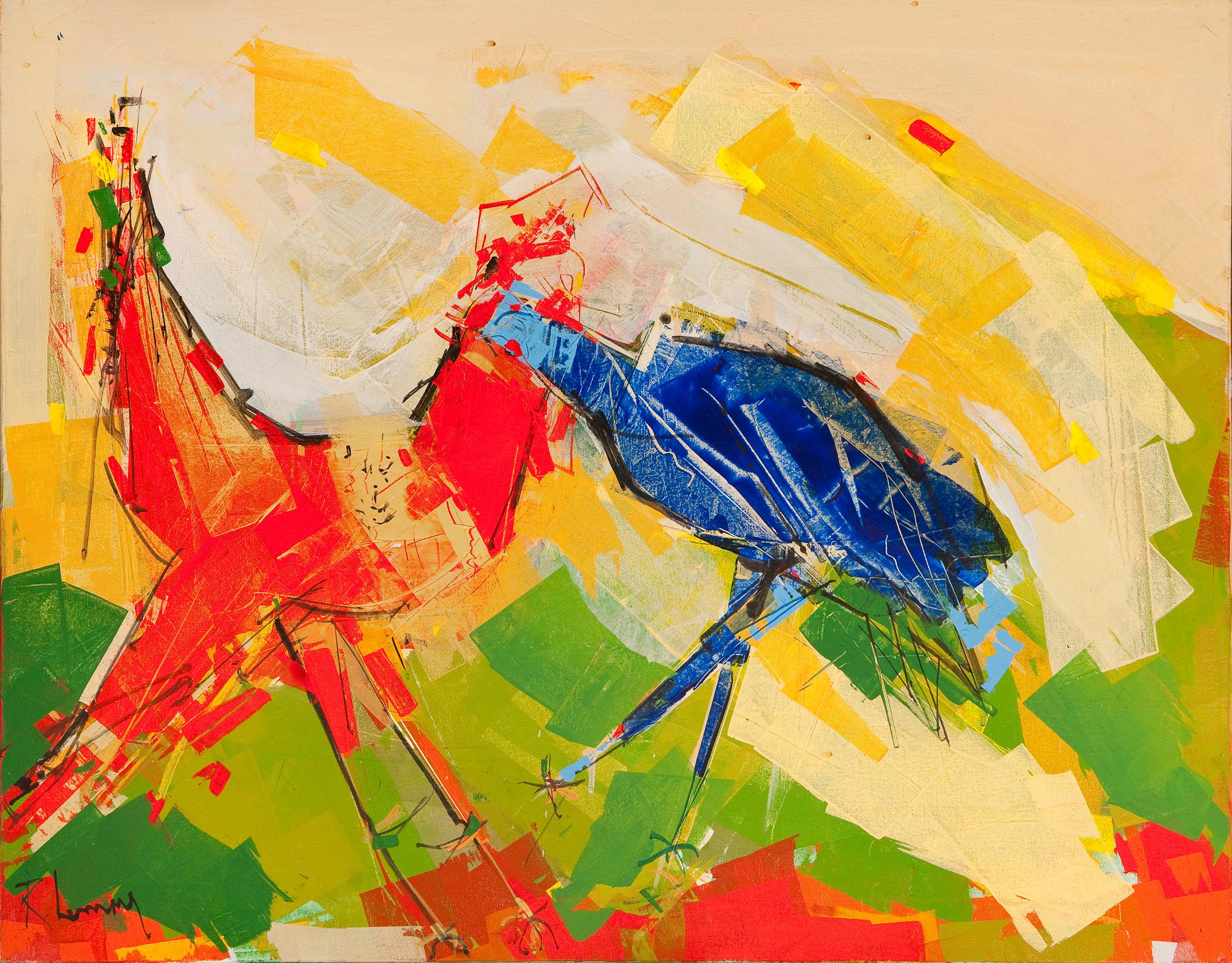 René Lemay artiste peintre - Le coq je danse pour toi - Acrylique