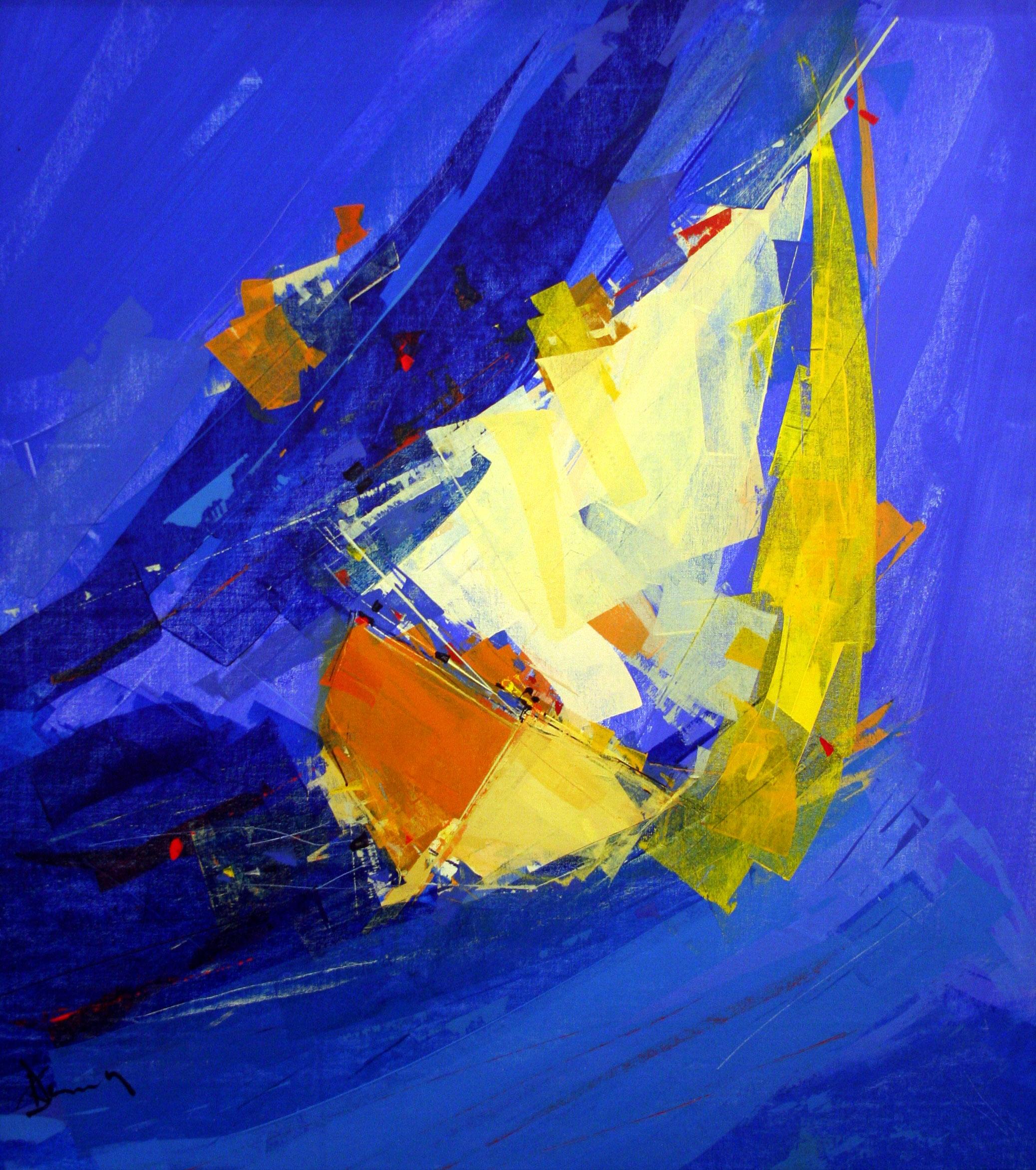 Oeuvre de l'artiste peintre René Lemay représentant un voilier.